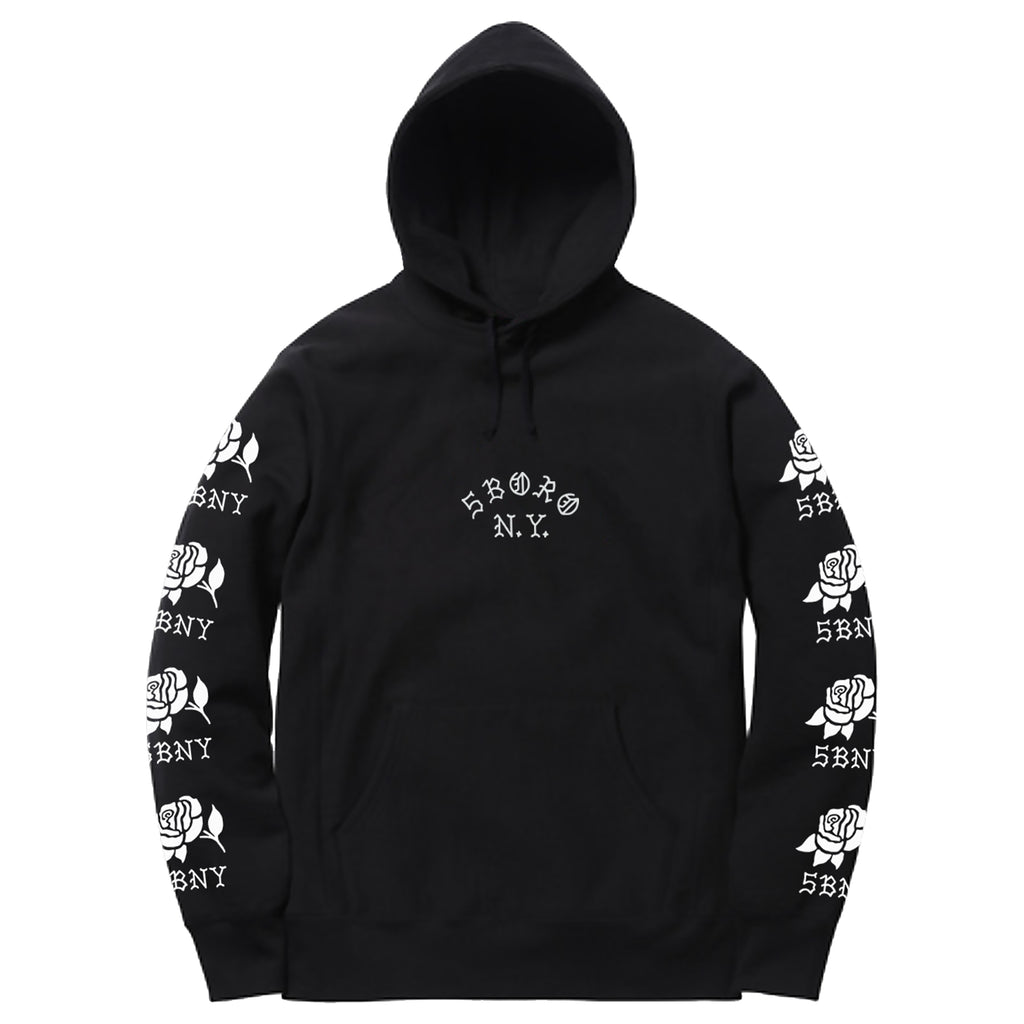5Boro Rose Pullover Hooded Sweatshirt Black with White printed Roses on Sleeves