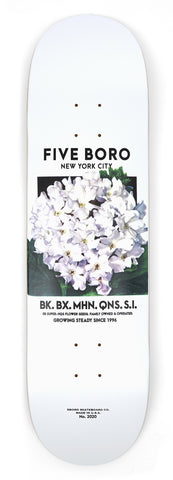 5Boro Flower Seed White Skateboard