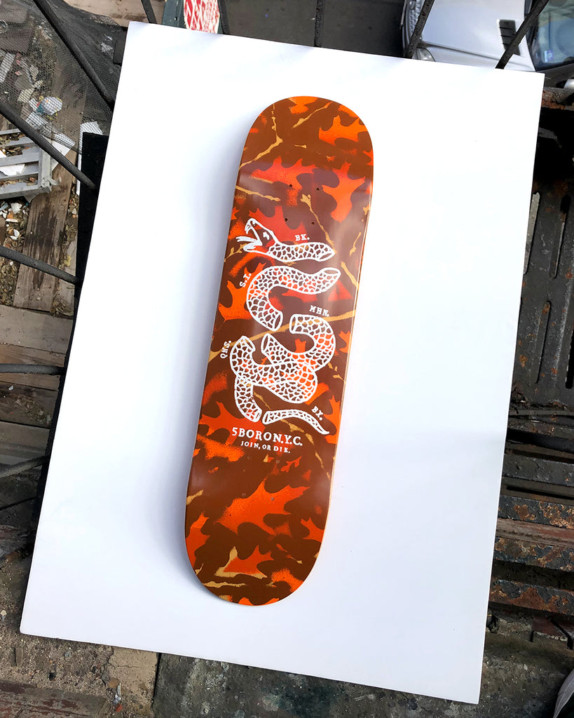 5BORO DIY Leaf Camo Orange & Brown  with Join or Die Snake Printed in White