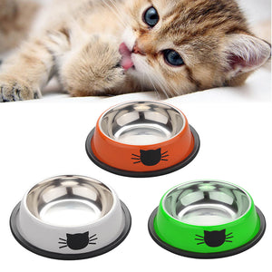 Stainless Steel Double Dog Cat Bowls Splash-proof Pet Food Water Feeder For Dog Puppy Cats Pets Supplies Feeding Dishes Pet Bowl