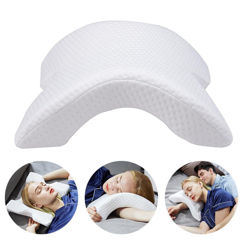 Arch U-Shaped Curved Memory Foam Sleeping Neck Cervical Pillow with Hollow Design Arm Rest Hand Pillow for Couple Side Sleepers