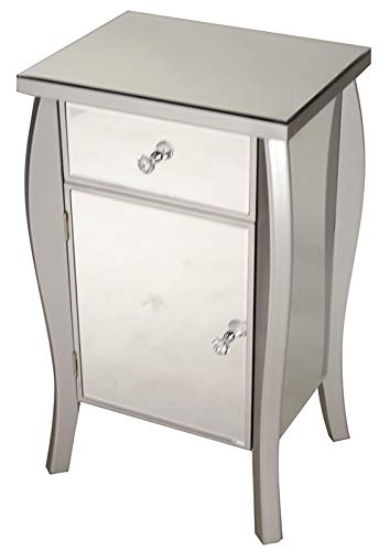"HomeJazz™ Accent Cabinet 30.45"" Tall Silver Wood with a Mirrored Glass Drawer and Door"