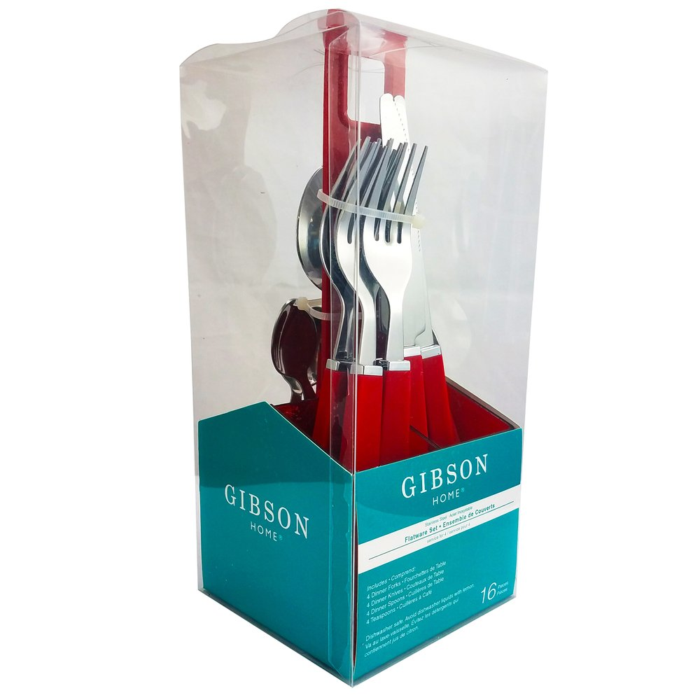 HomeJazz™ 16 Piece Flatware Set Gibson Altamara with Complimentary Red Stand
