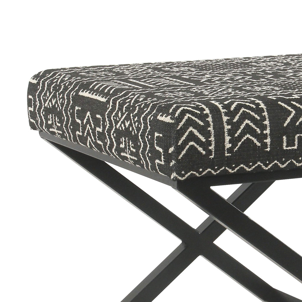 HomeJazz™ Ottoman Fabric Upholstered with X Shape Metal Legs, Black and Cream