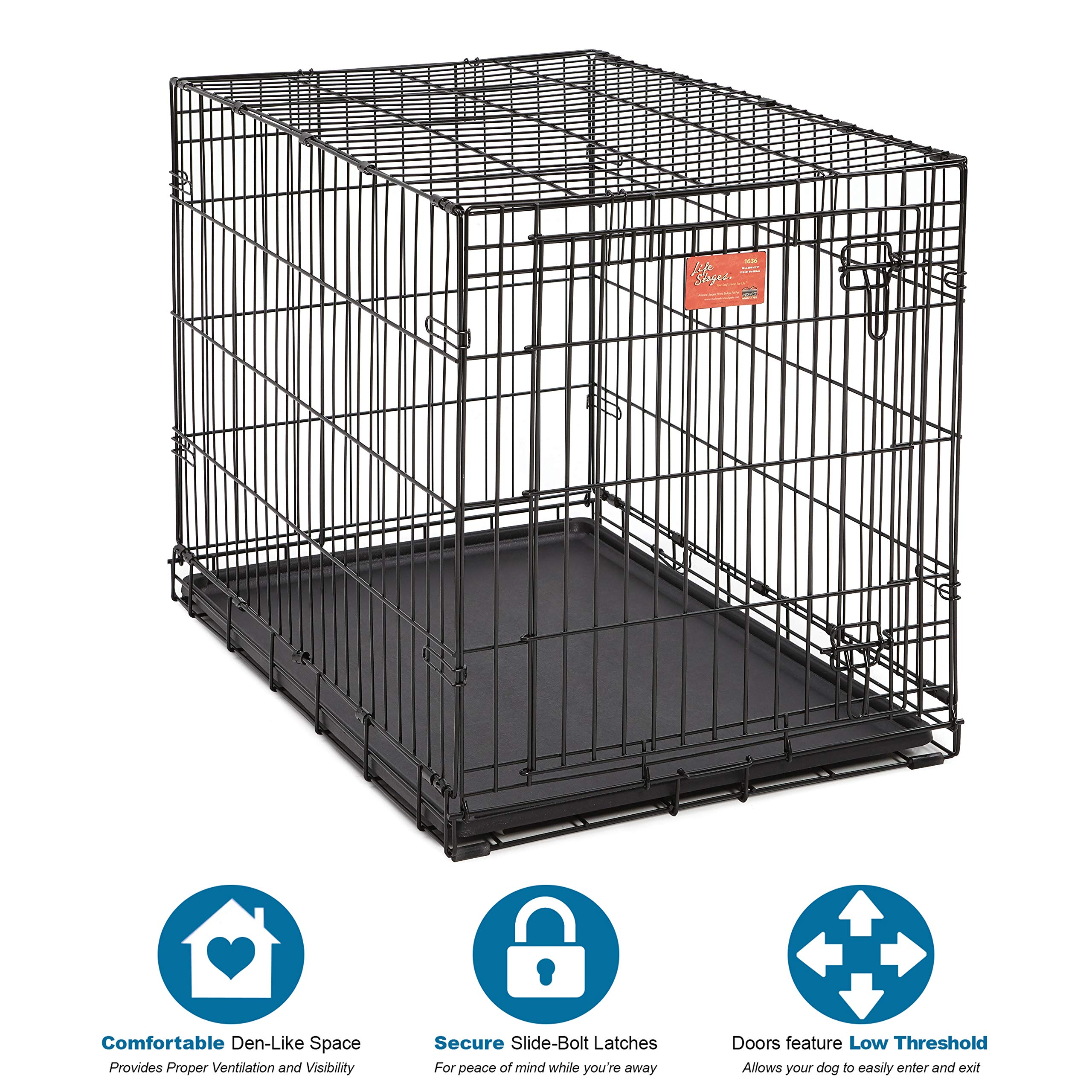 PetLove™ Metal Folding Dog Crate with divider Panel