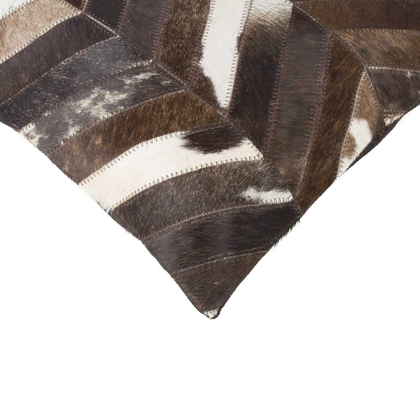 "HomeJazz™ Pillow Chocolate And Natural-Cowhide, Microsuede-18"" x 18"" x 5"""