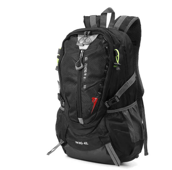 OutdoorComfort™ Waterproof Nylon Backpack Sports Travel Hiking Climbing Unisex Rucksack - Black