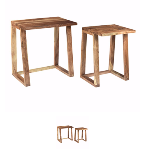 HomeJazz™ Solid Wooden Side Tables, Set of Two, Brown