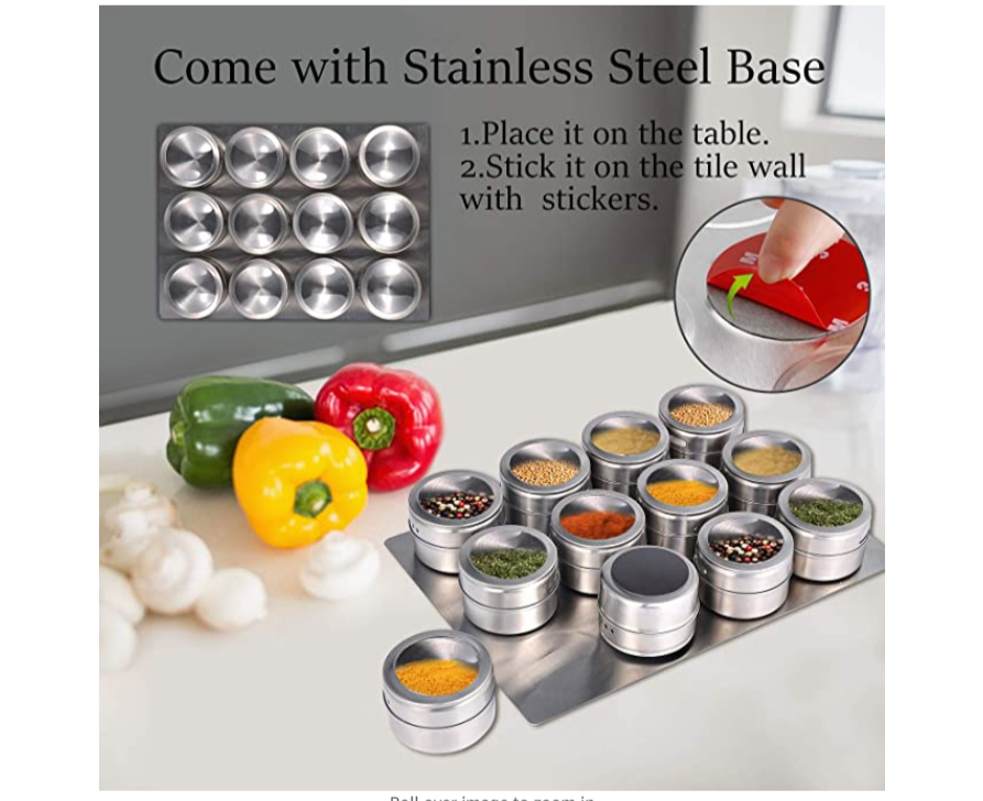HomeJazz™ Spice Tin 12Pc Stainless Steel Magnetic Kitchen Storage Container Jars Clear Lid