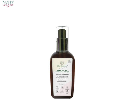 Vanity Wagon I Juicy Chemistry Organic Hair Mask for Itchy and Flaky Scalp with Neem Butter, Pumpkin and Ginger
