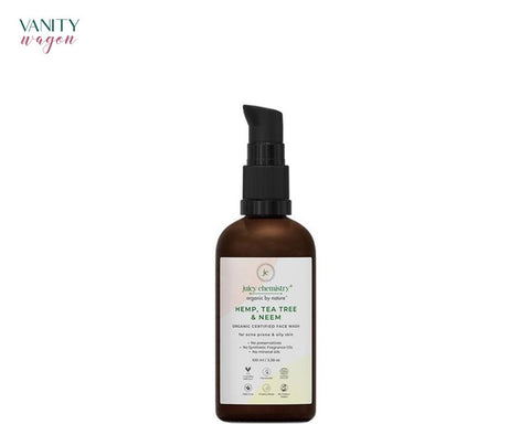 Vanity Wagon I Juicy Chemistry Organic Face Wash for Acne Prone and Oily Skin with Hemp, Tea Tree and Neem