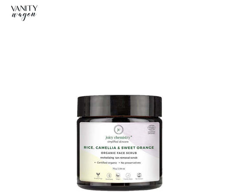 Vanity Wagon I Juicy Chemistry Organic Face Scrub for Revitalizing and Tan Removal with Rice, Camellia and Sweet Orange