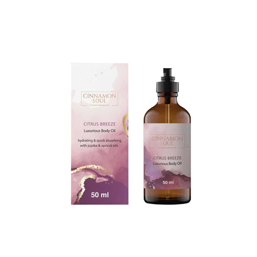 Cinnamon Soul Citrus Breeze Body Oil with Jojoba, Apricot, Walnut and Almond Oil