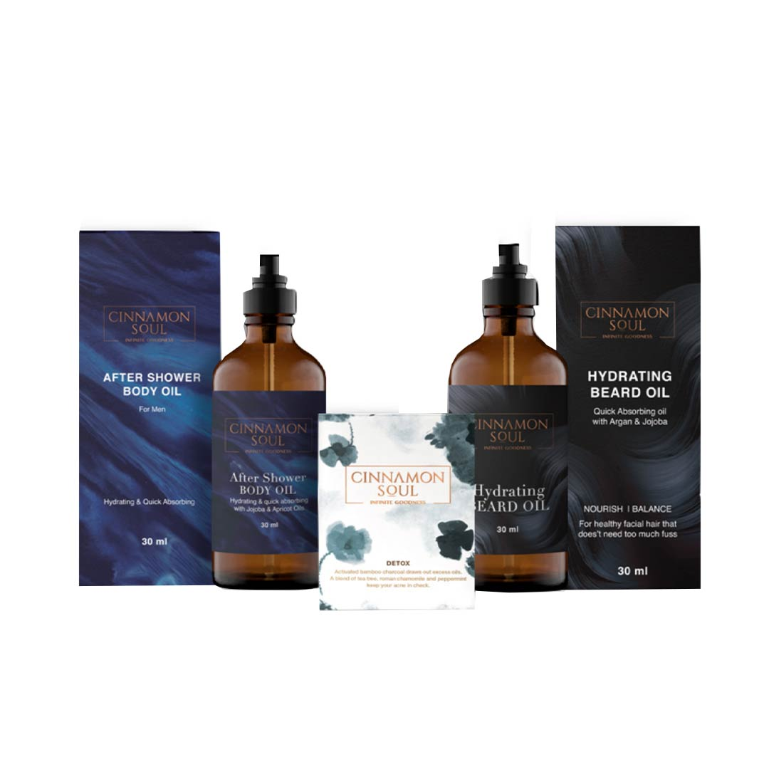 Cinnamon Soul The Gentlemen's Essentials - Daily Detox Bar, Hydrating Beard Oil & After Shower Body Oil