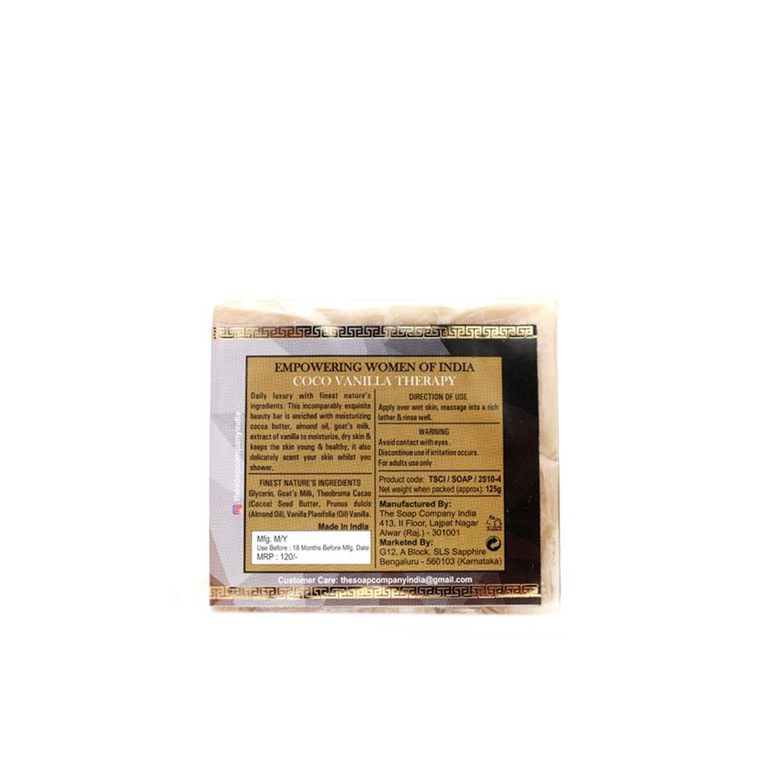The Soap Company India Coco Vanilla Therapy Beauty Bar with Cocoa Butter, Vanilla, Milk and Almond Oil -2