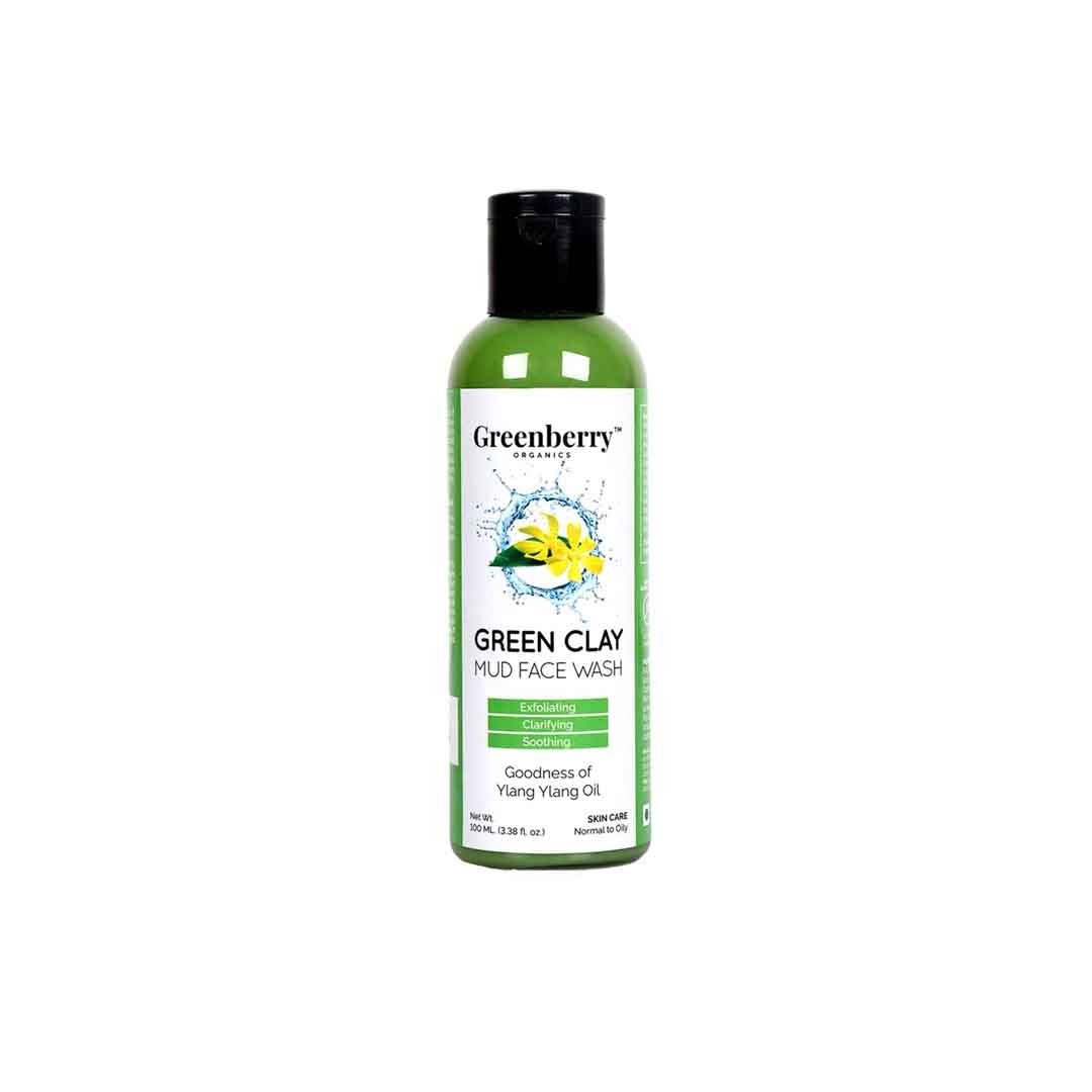 Greenberry Organics Green Clay, Mud Face Wash with Ylang Ylang Oil -1