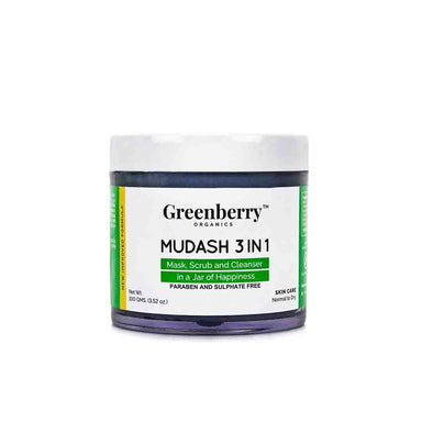 Greenberry Organics Mudash 3 in 1 Face Mask, Scrub and Cleanser -1