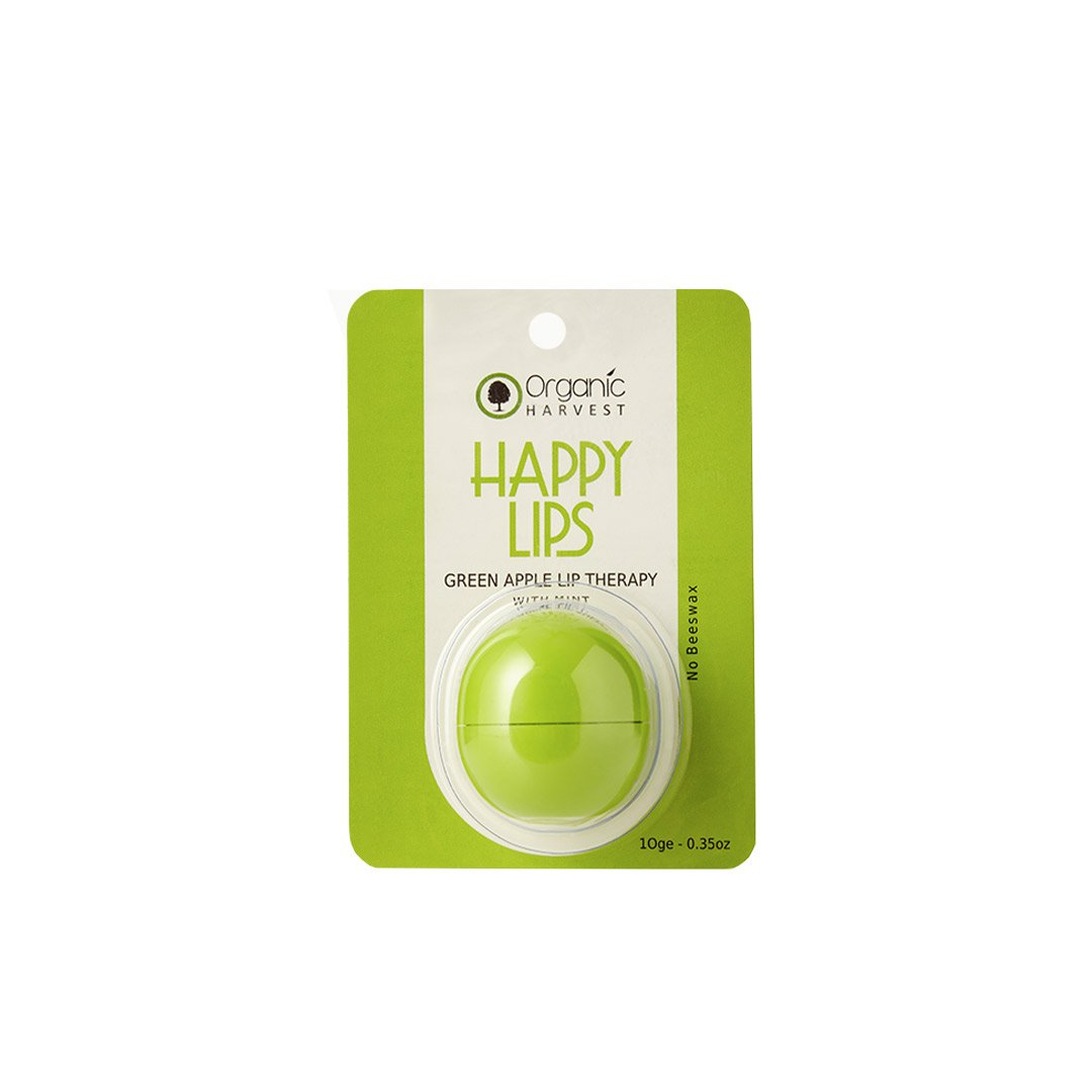 Organic Harvest Happy Lips, Green Apple Lip Balm with Mint -1