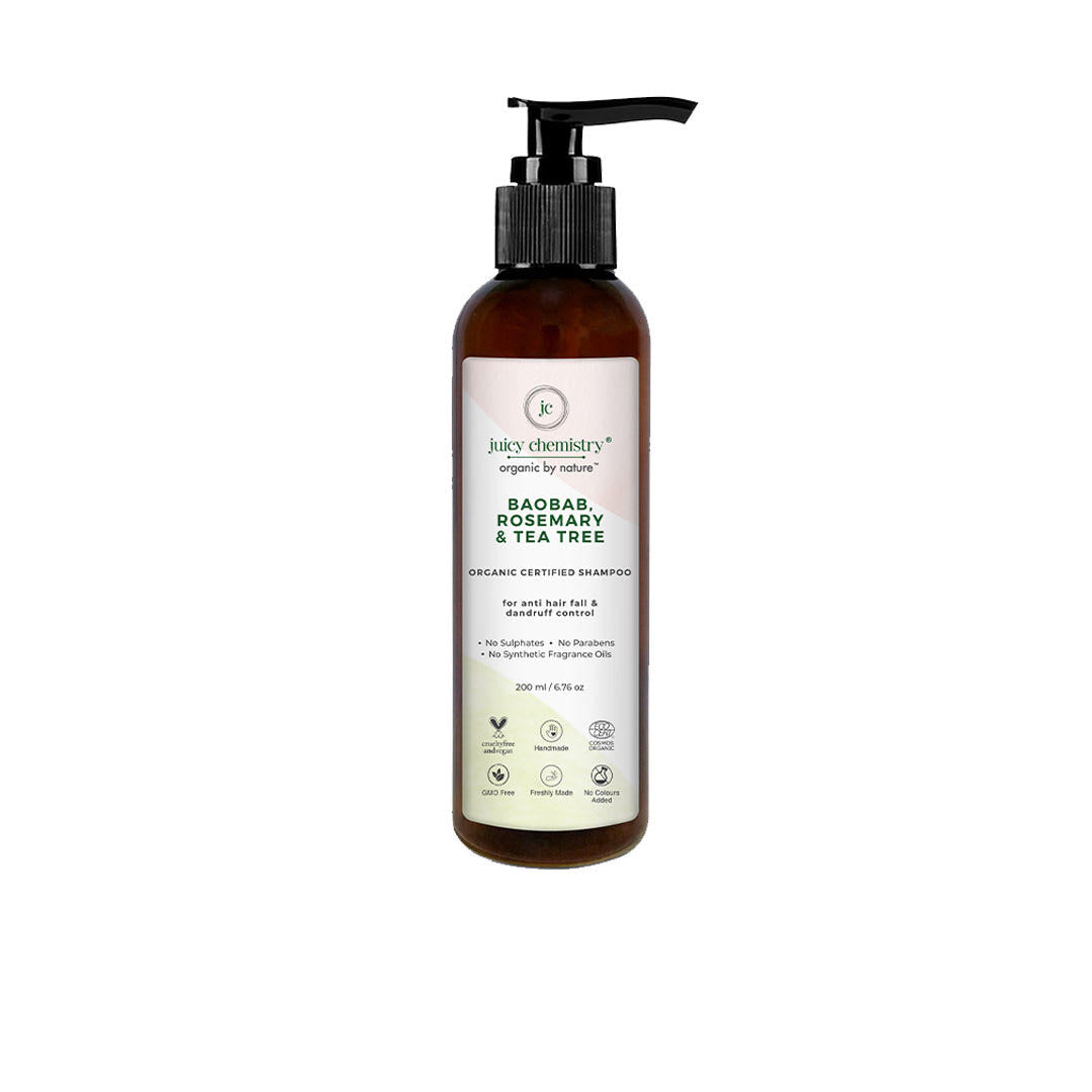 Juicy Chemistry Organic Shampoo for Anti Hair Fall and Dandruff Control with Baobab, Rosemary and Tea Tree