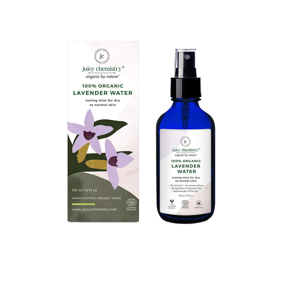 Juicy Chemistry 100% Organic Lavender Water, Toning Mist for Dry to Normal Skin