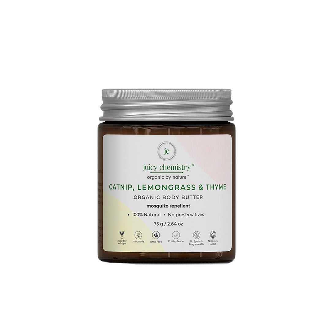 Juicy Chemistry Organic Body Butter, Mosquito Repellent with Catnip, Lemongrass & Thyme