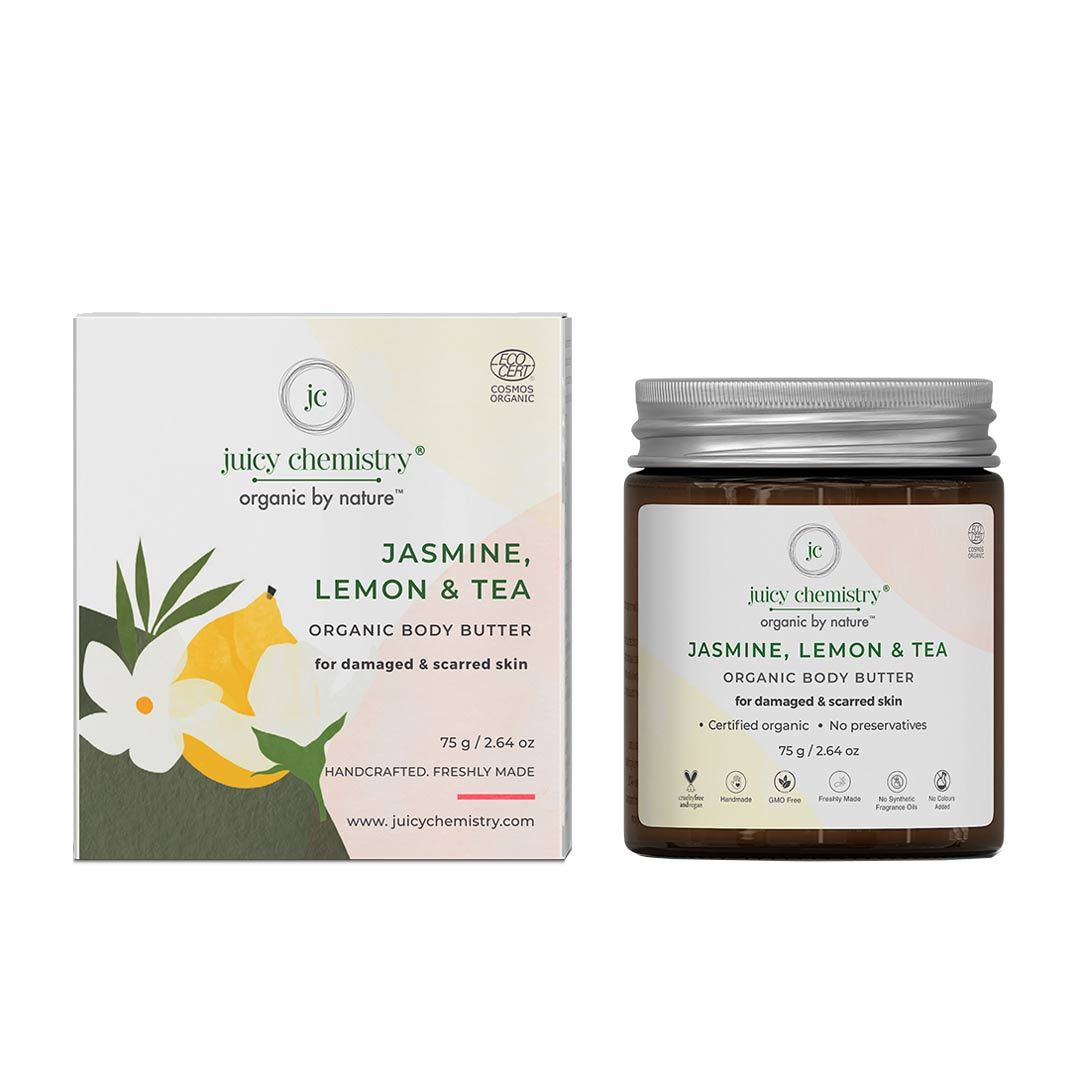 Juicy Chemistry Organic Body Butter for Damaged & Scarred Skin with Jasmine, Lemon & Tea