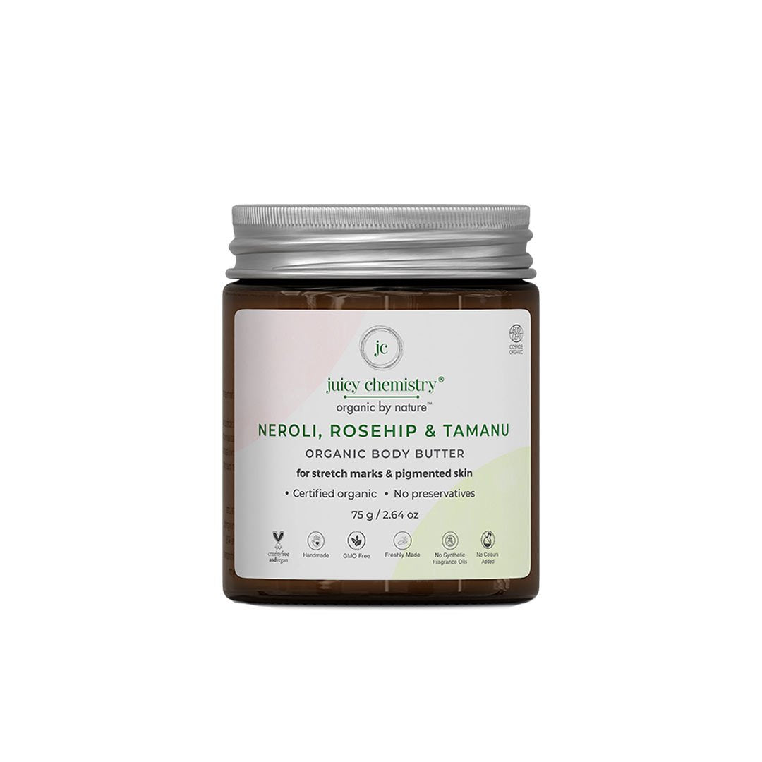 Juicy Chemistry Organic Body Butter for Stretch Marks & Pigmented Skin with Neroli, Rosehip & Tamanu