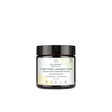Juicy Chemistry Organic Daily Cleansing Grains for Dry and Sensitive Skin with Ylang Ylang, Lavender and Oats -1