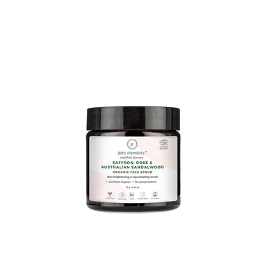 Juicy Chemistry Organic Face Scrub for Skin Brightening and Rejuvenating Scrub with Saffron, Rose and Australian Sandalwood -1