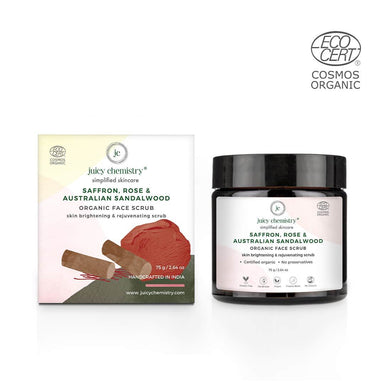 Juicy Chemistry Organic Face Scrub for Skin Brightening and Rejuvenating Scrub with Saffron, Rose and Australian Sandalwood -2