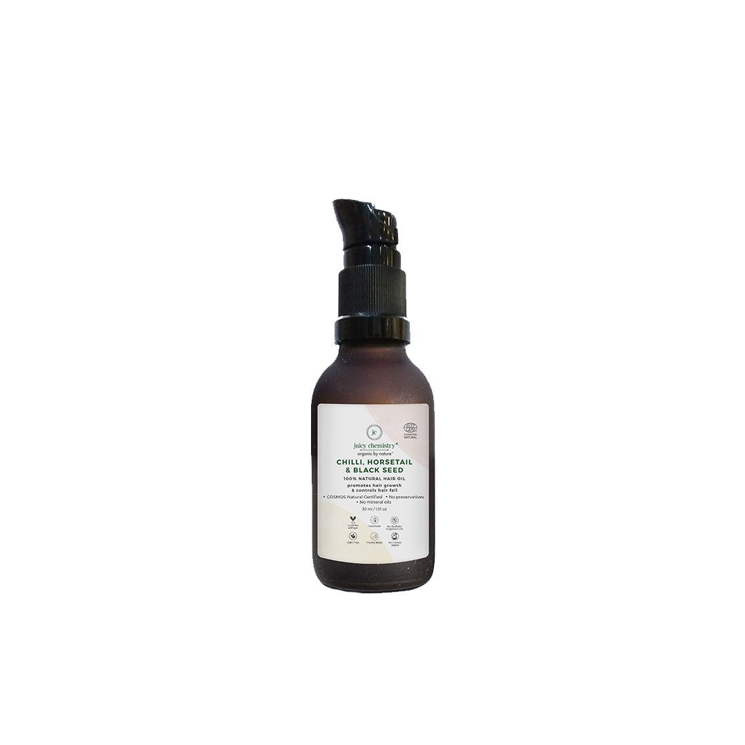 Juicy Chemistry Organic Hair Oil for Hair Growth and Hair Fall Control with Chilli, Horsetail and Black Seed