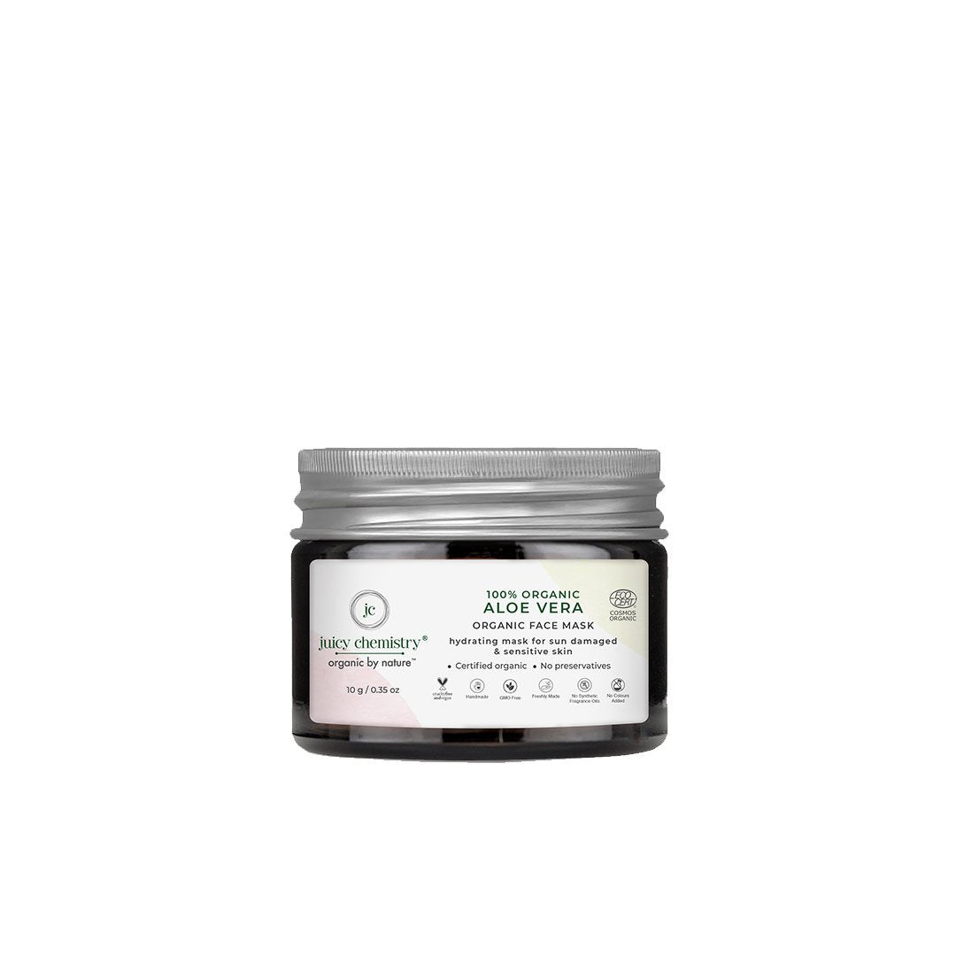 Juicy Chemistry Organic Hydrating Face Mask for Sun Damaged and Sensitive Skin with Aloe Vera