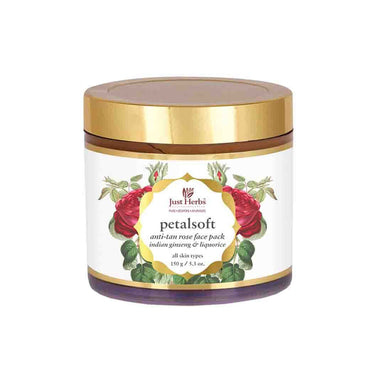 Just Herbs Petal Soft, Anti-Tan Rose Face Pack with Ginseng and Licorice