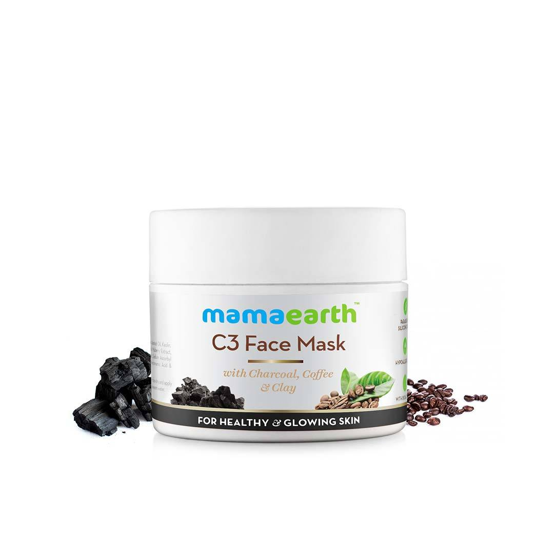 Mamaearth C3 Face Mask for Healthy and Glowing Skin with Charcoal, Coffee and Clay -2