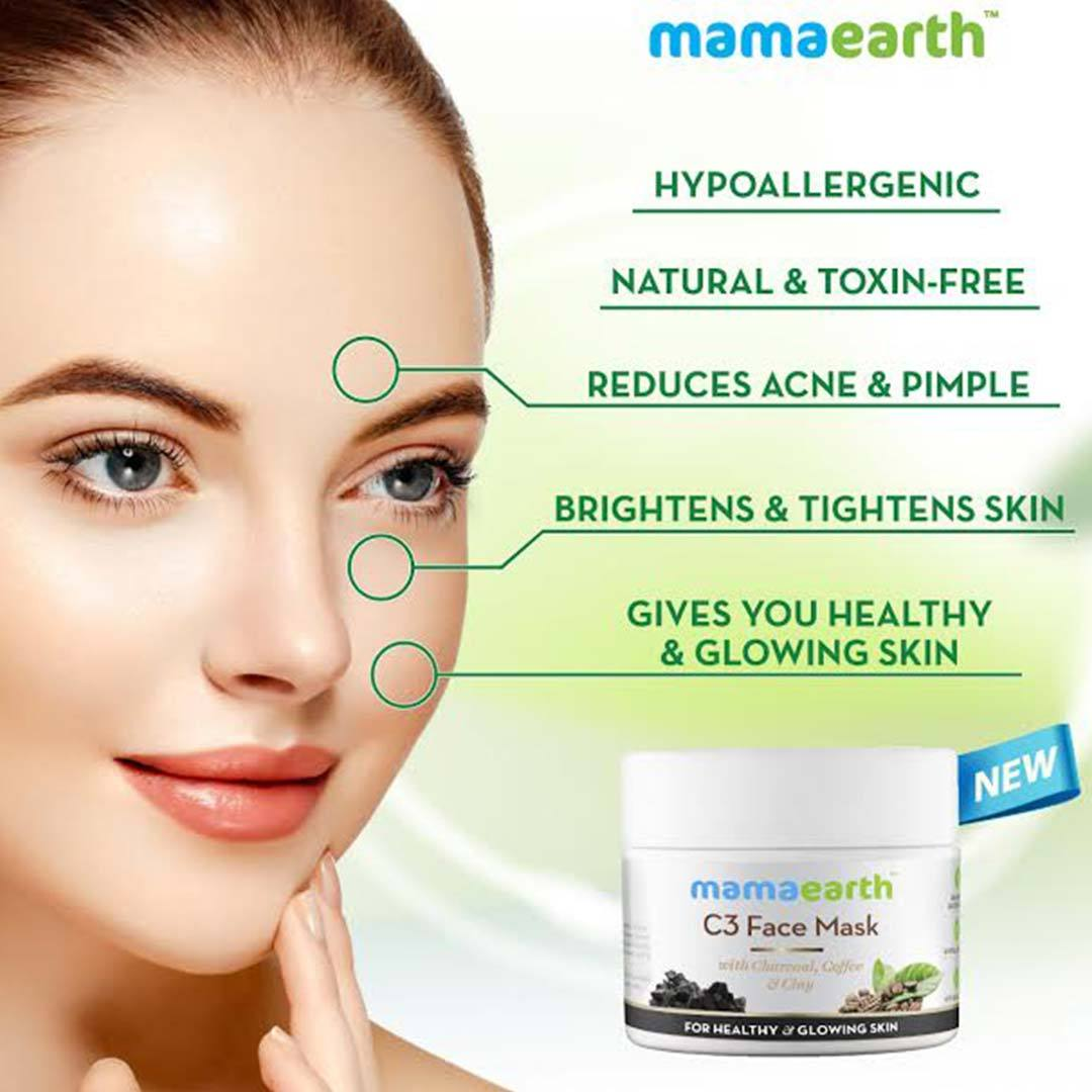 Mamaearth C3 Face Mask for Healthy and Glowing Skin with Charcoal, Coffee and Clay -3