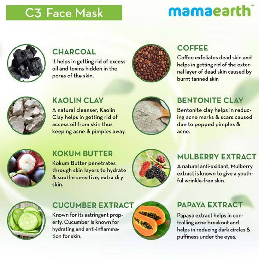 Mamaearth C3 Face Mask for Healthy and Glowing Skin with Charcoal, Coffee and Clay -5