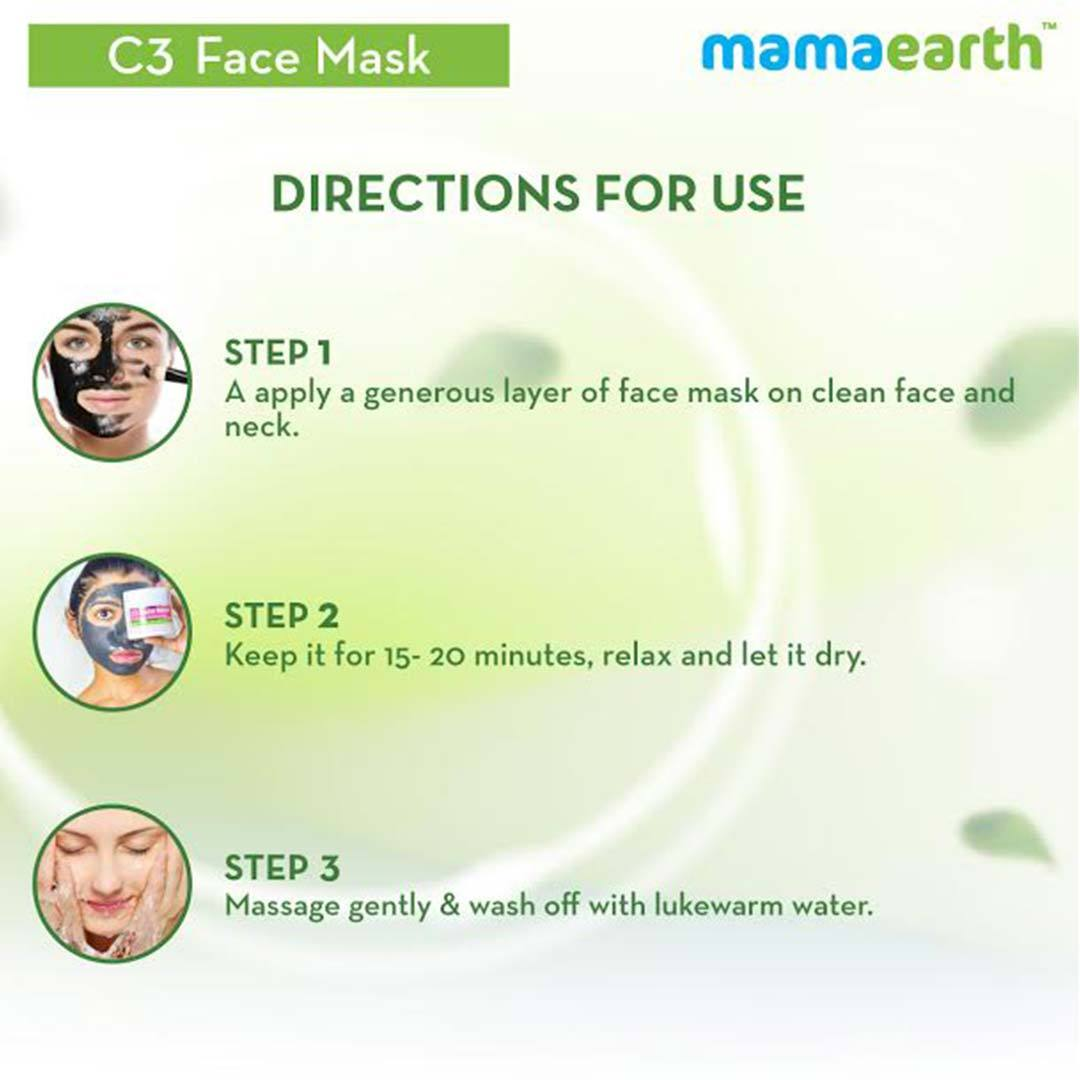 Mamaearth C3 Face Mask for Healthy and Glowing Skin with Charcoal, Coffee and Clay -6