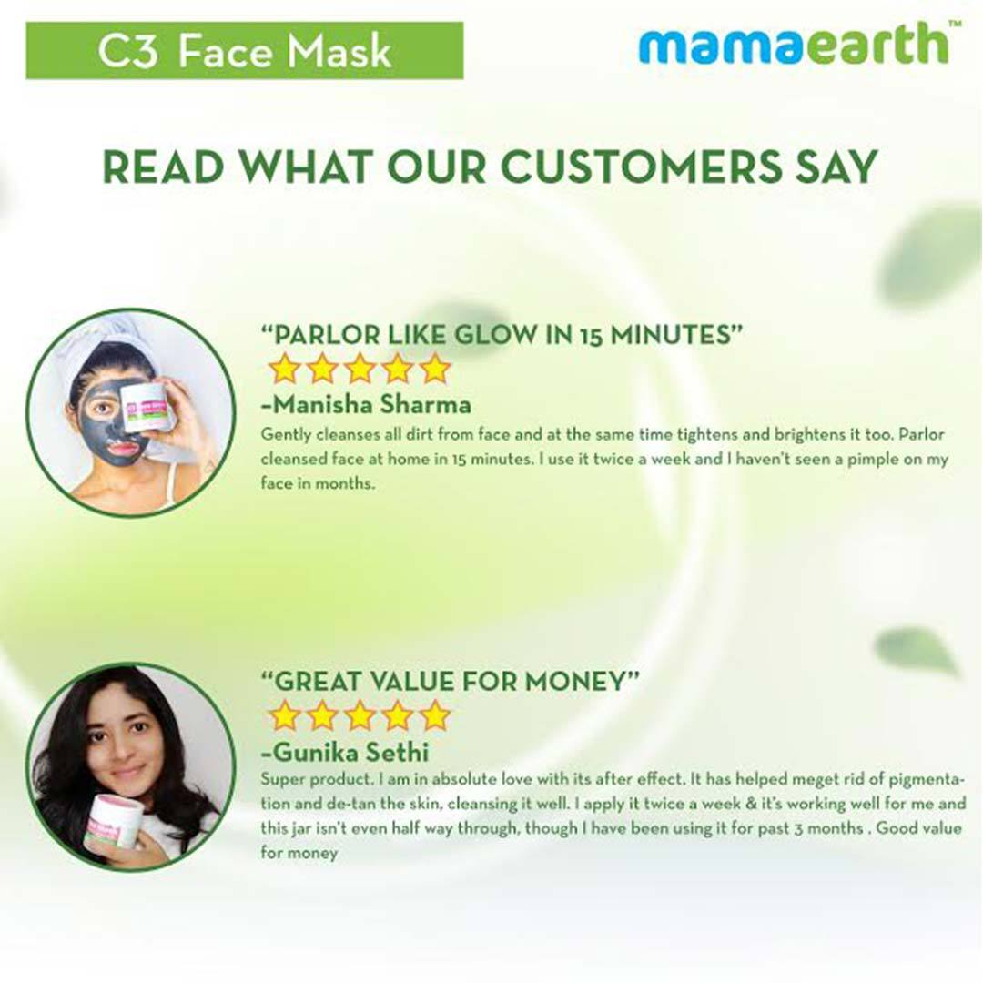 Mamaearth C3 Face Mask for Healthy and Glowing Skin with Charcoal, Coffee and Clay -7