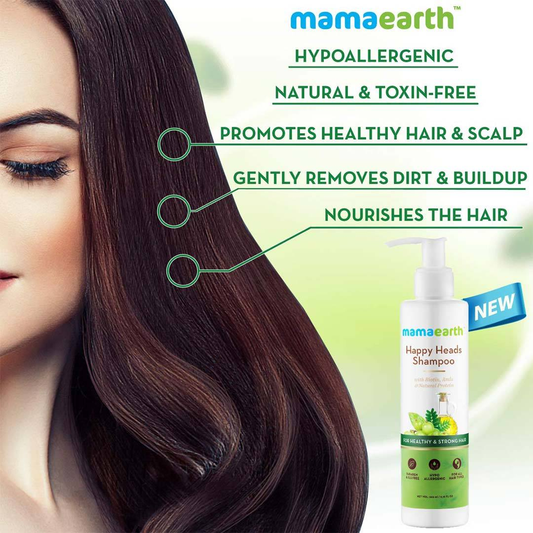 Mamaearth Happy Heads Shampoo for Healthy and Strong Hair with Biotin, Amla and Natural Protein -3