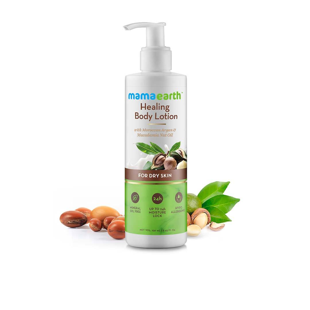 Mamaearth Healing Body Lotion for Dry Skin with Moroccan Argan and Macadamia Nut Oil -1