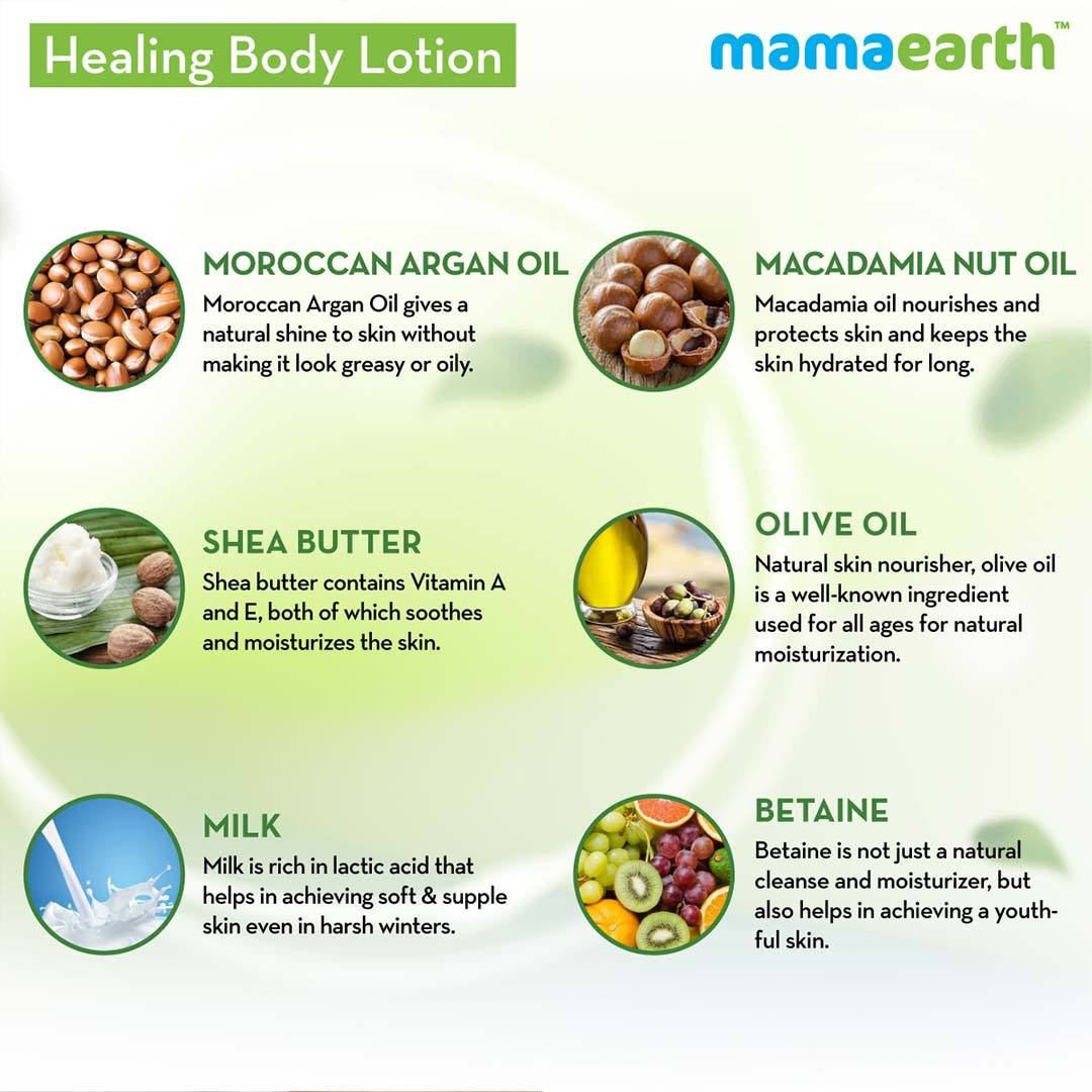 Mamaearth Healing Body Lotion for Dry Skin with Moroccan Argan and Macadamia Nut Oil -4