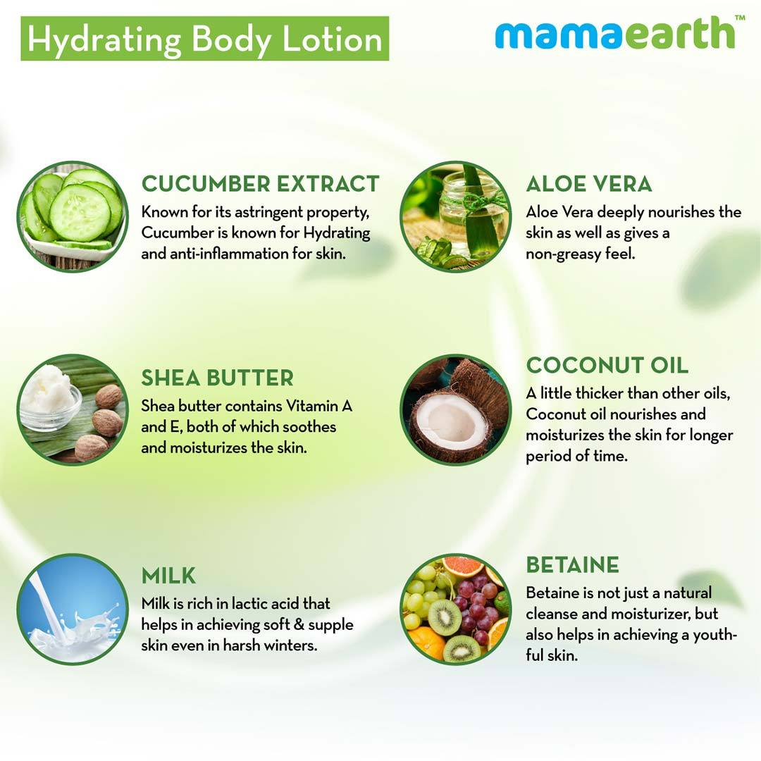 Mamaearth Hydrating Body Lotion for Normal Skin with Cucumber and Aloe Vera -5