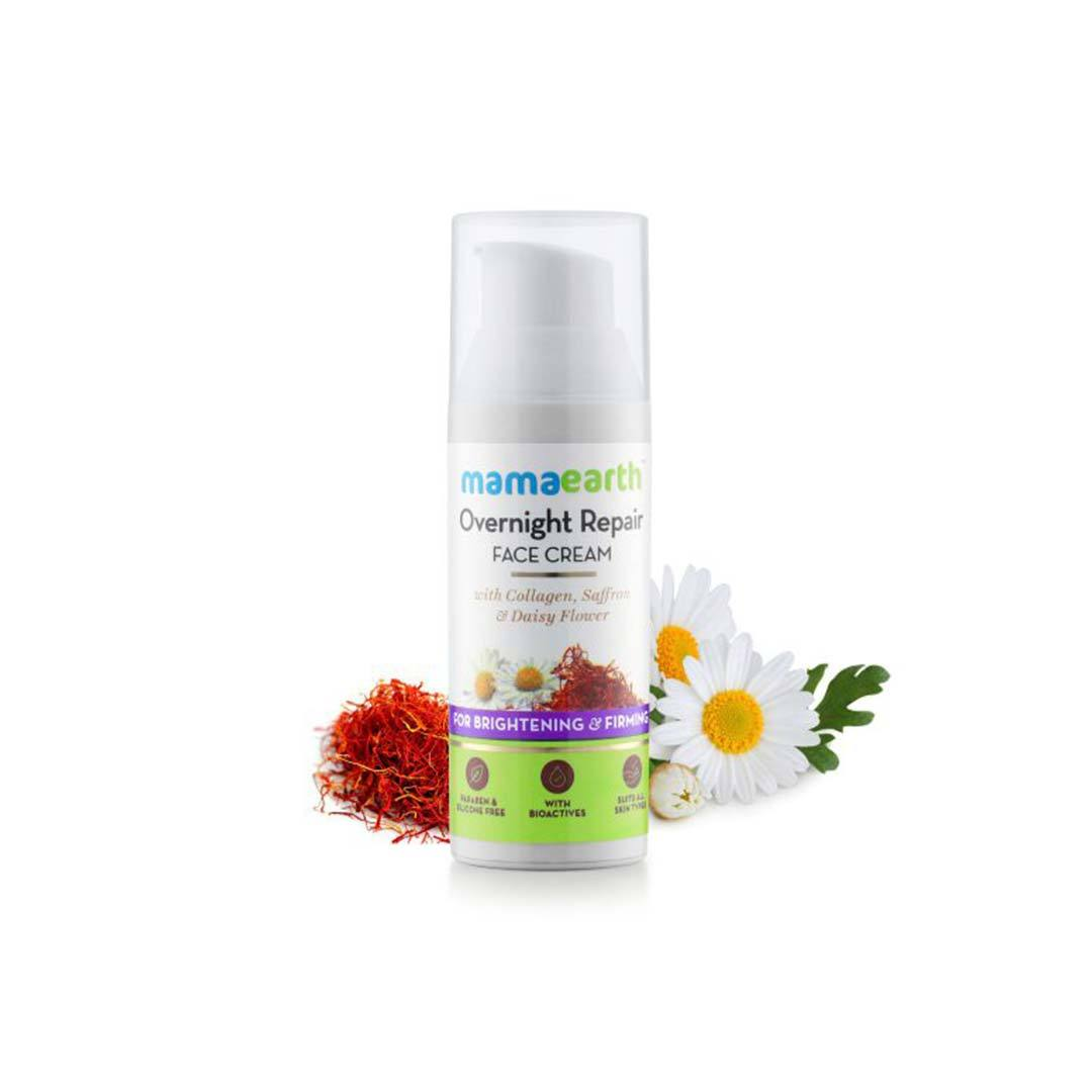 Mamaearth Overnight Repair Face Cream for Brightening and Firming with Collagen, Saffron and Daisy Flower