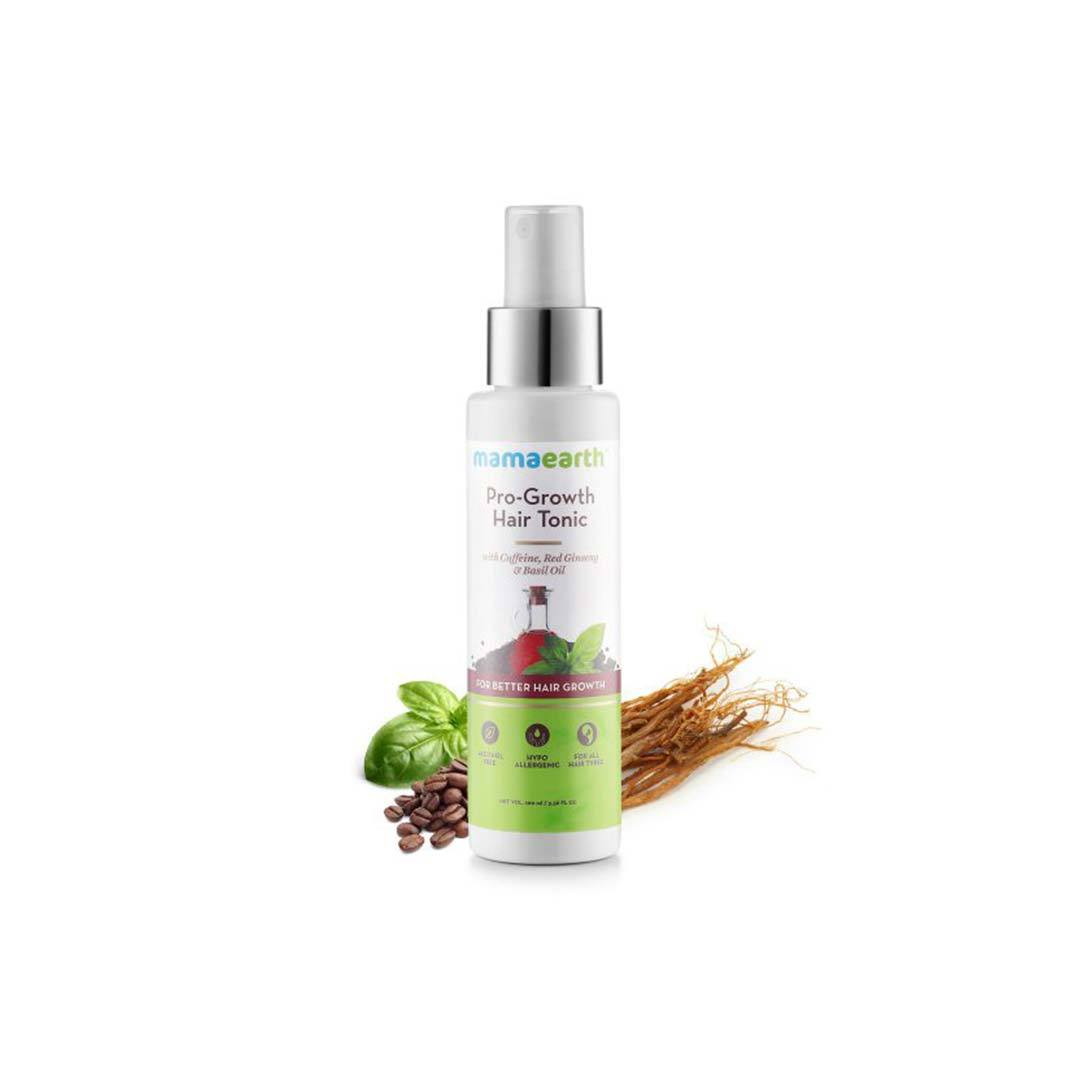 Mamaearth Pro-Growth Hair Tonic with Caffeine, Red Ginseng and Basil Oil