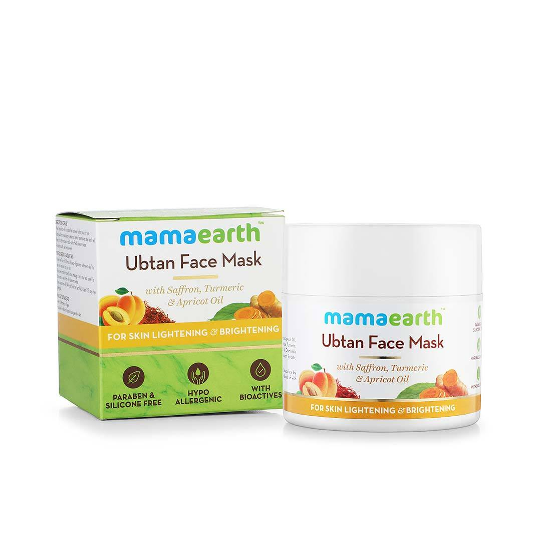 Mamaearth Ubtan Face Mask for Skin Lightening and Brightening with Saffron, Turmeric and Apricot Oil -3