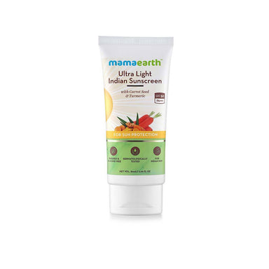 Mamaearth Ultra Light Indian Sunscreen with Carrot Seed and Turmeric, SPF 50 PA+++ -1