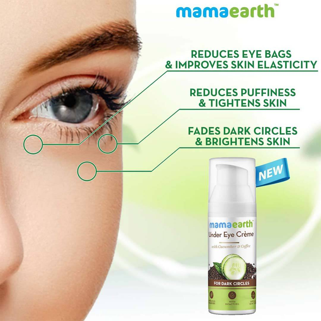 Mamaearth Under Eye Crème for Dark Circles with Cucumber and Coffee -3