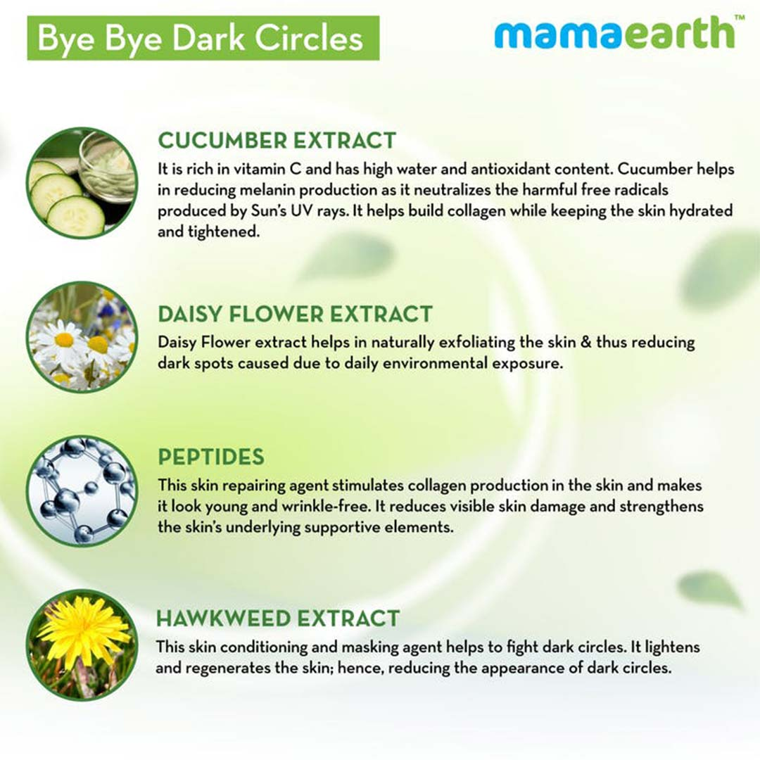 Mamaearth Bye Bye Dark Circles Eye Cream with Cucumber and Peptides