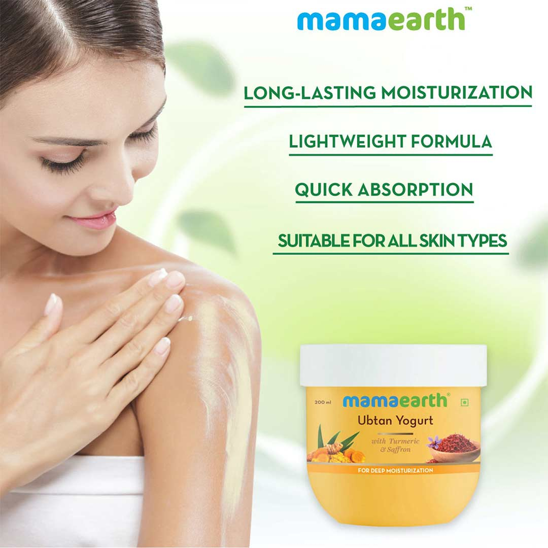 Mamaearth Ubtan Yogurt with Turmeric and Saffron for Deep Moisturization