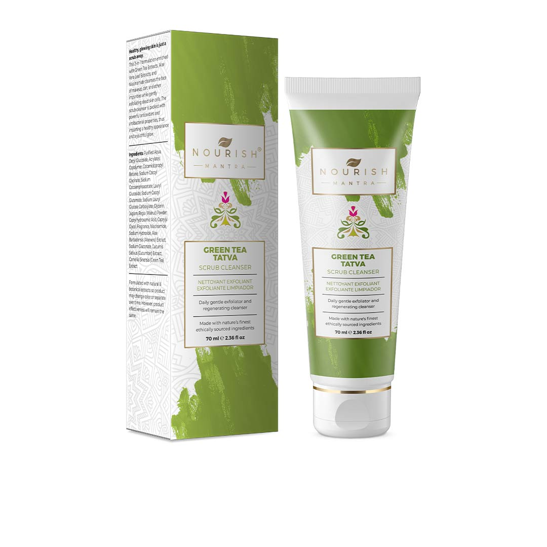 Vanity Wagon | Buy Nourish Mantra Green Tea Tatva Scrub Cleanser with Aloe Vera & Niacinamide